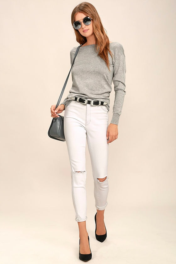 Me Too Heather Grey Backless Sweater Top 2