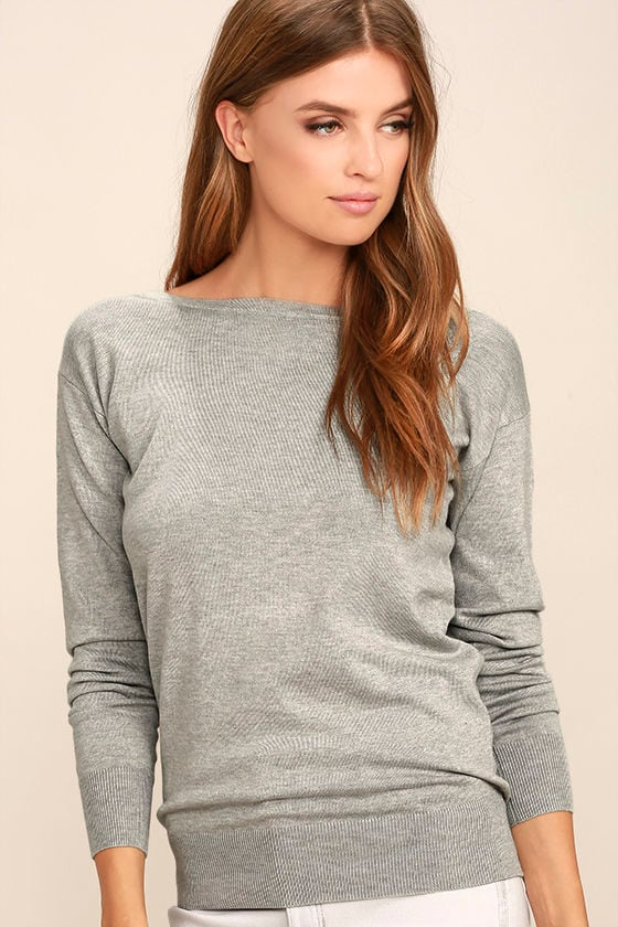 Me Too Heather Grey Backless Sweater Top 3