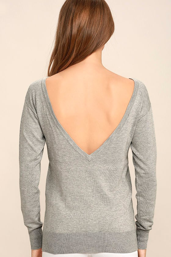 Me Too Heather Grey Backless Sweater Top 4