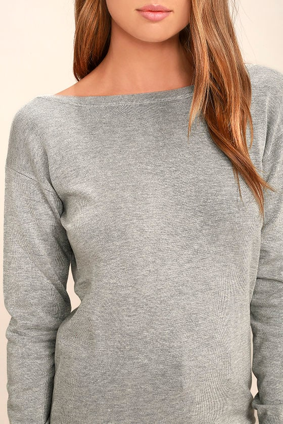 Me Too Heather Grey Backless Sweater Top 5