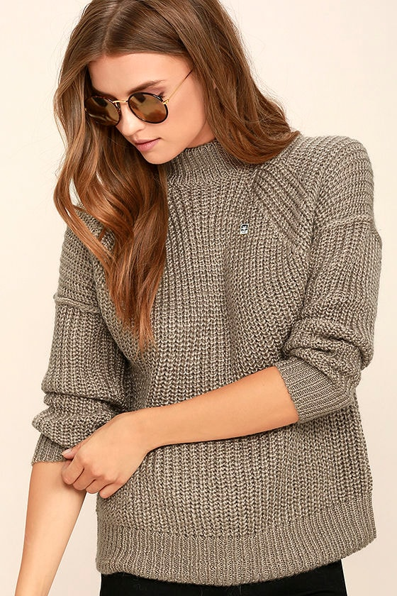 Obey Barnette Pullover Sweater - Light Brown Knit Sweater - Chunky ...