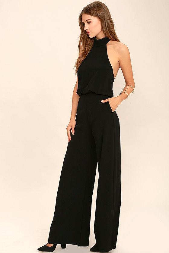 Chic Black Jumpsuit - Black Halter Jumpsuit - Wide Leg Jumpsuit ...