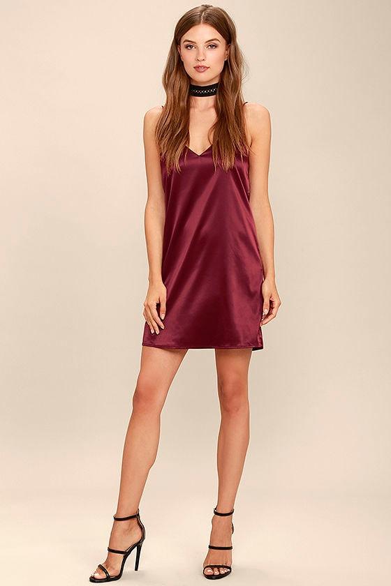 Red Backless Slip Dress