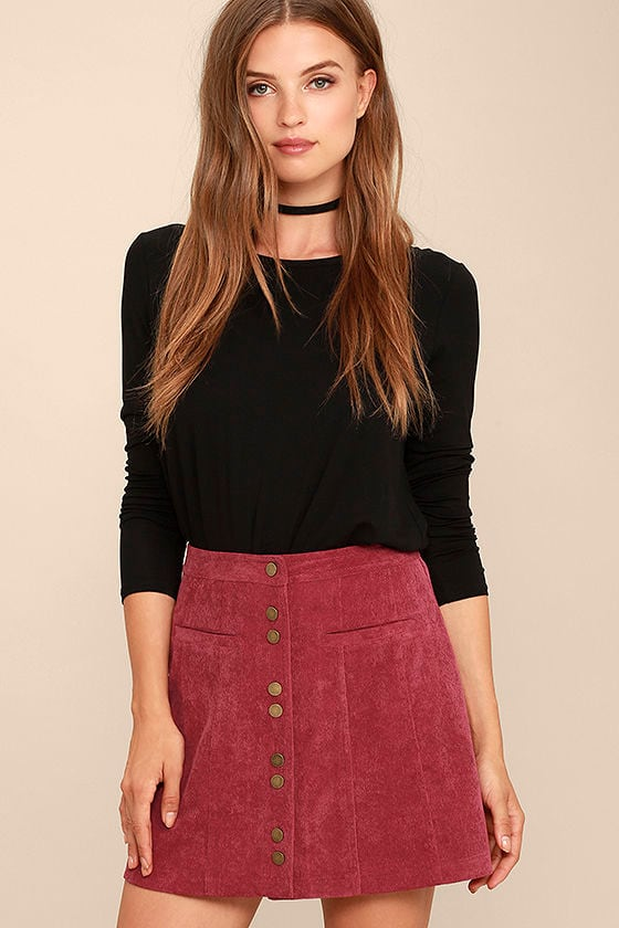 ecef2bc09 Cute Wine Red Corduroy Skirt - Button Front Mini Skirt