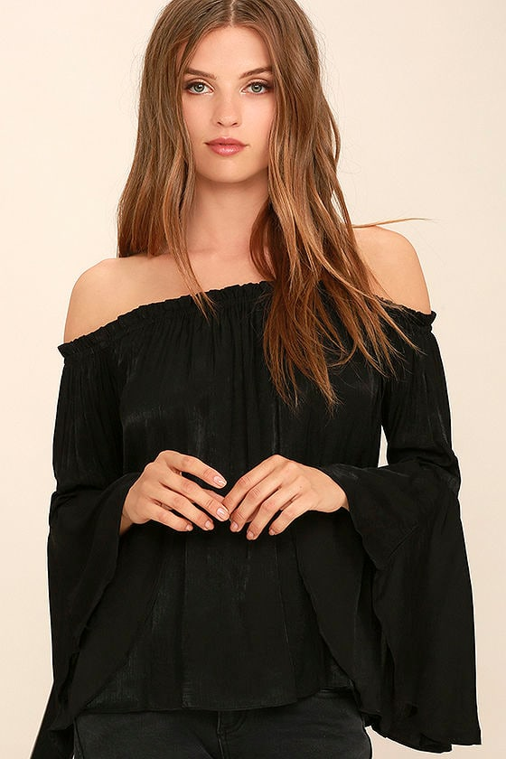 d0be33a46fc7 Cute Black Top - Off-the-Shoulder Top - Bell Sleeve Top - Long Sleeve Top -   32.00