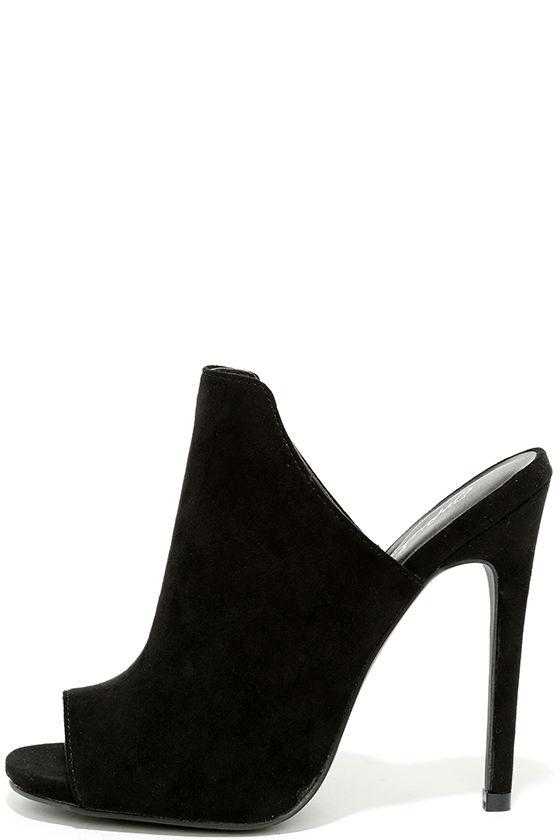 f4d63b4dbc7a Chic Black Heels - Peep-Toe Heels - High Heel Mules - Vegan Suede Mules -   28.00