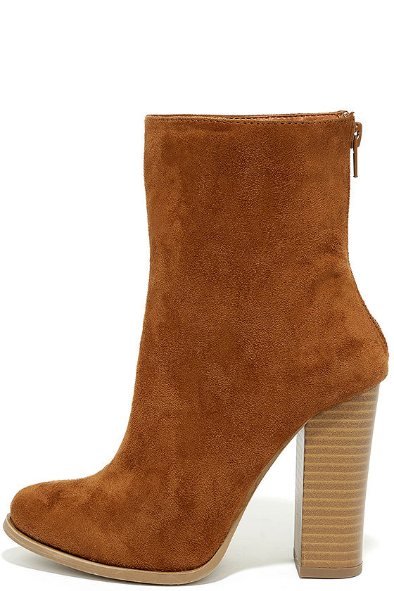 775985730487 Chic Tan Suede Boots - Mid-Calf Boots - High Heel Boots -  38.00