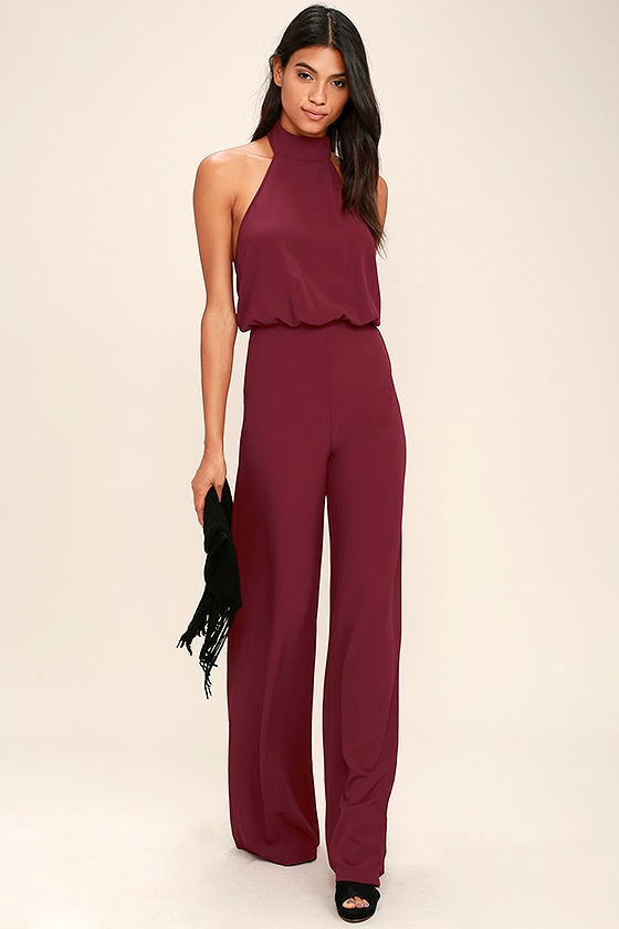 Chic Wine Red Jumpsuit - Red Halter Jumpsuit - Wide Leg ...