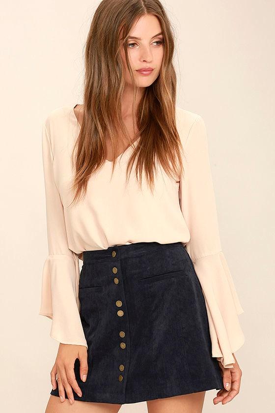Cute Corduroy Skirt - A-Line Skirt - Mini Skirt - Button-Front ...