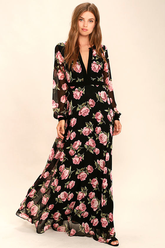 758152a82 Lovely Black Floral Print Dress - Maxi Dress - Long Sleeve Dress - $96.00
