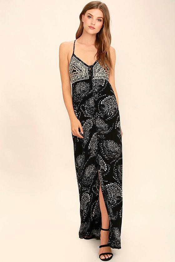 91283443cadc O'Neill Anissa Dress - Maxi Dress - Black Print Dress - $64.00