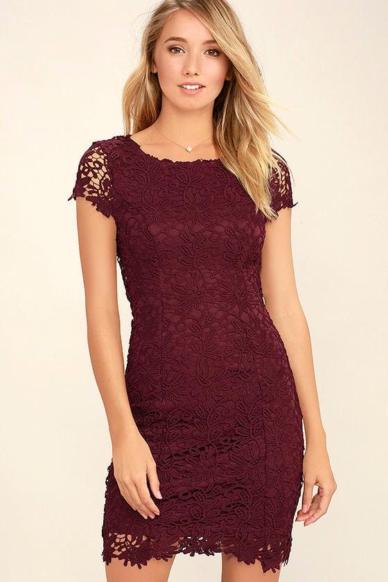 cute backless dress burgundy dress lace dress 5800