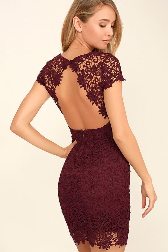 Cute Backless Dress - Burgundy Dress - Lace Dress - $58.00