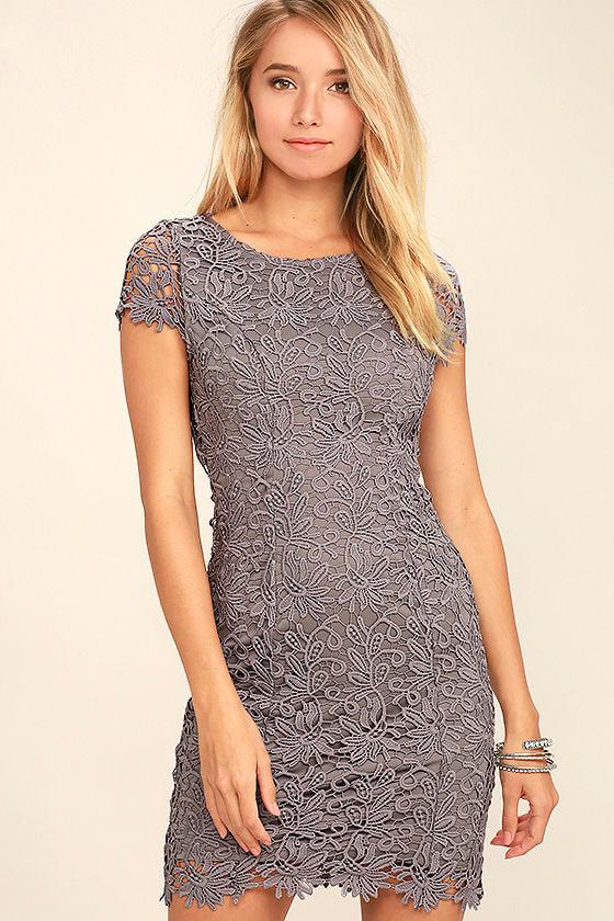 Hidden Talent Backless Grey Lace Dress 3