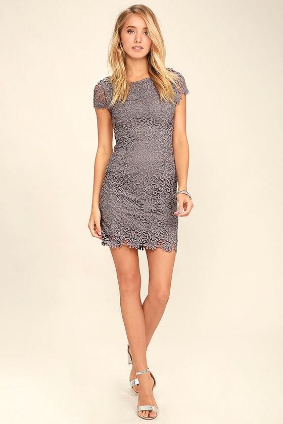 Hidden Talent Backless Grey Lace Dress 2
