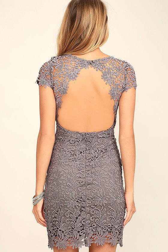 Hidden Talent Backless Grey Lace Dress 4