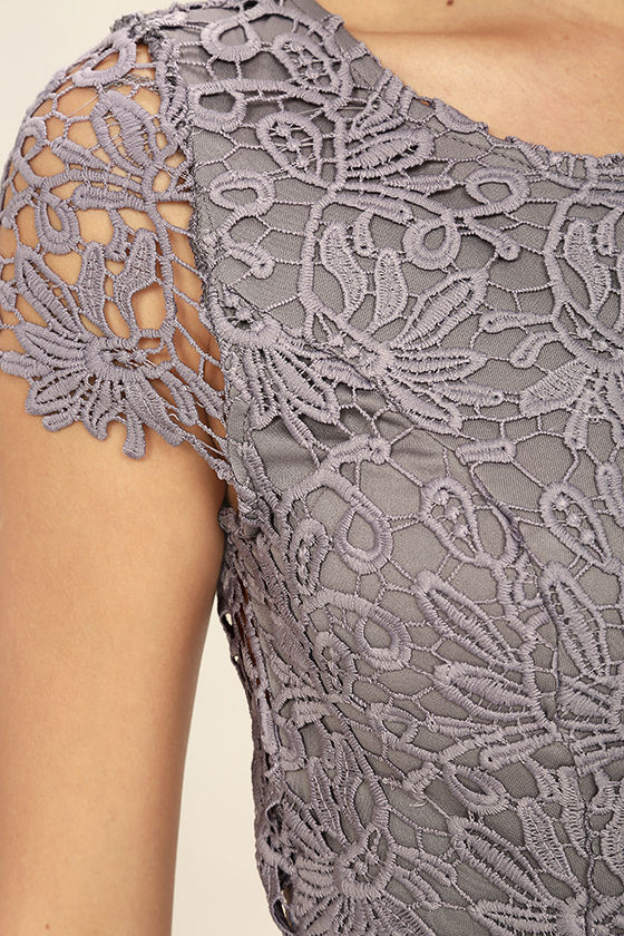 Hidden Talent Backless Grey Lace Dress 6