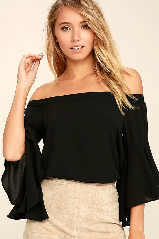 e6e72ad070a55 Chic Black Top - Off-The-Shoulder Top - Bell Sleeve Top -  38.00