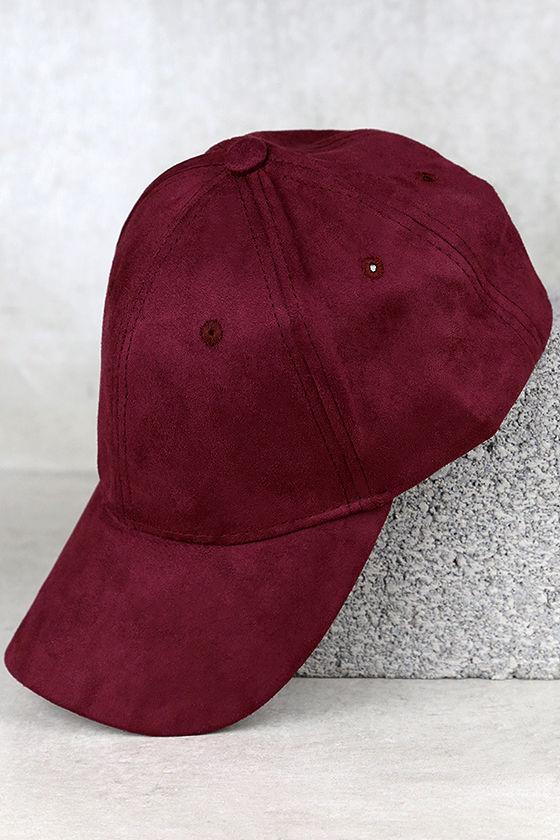 Chic Burgundy Baseball Cap - Vegan Suede Baseball Cap - Ball Cap ... cb57c96d9
