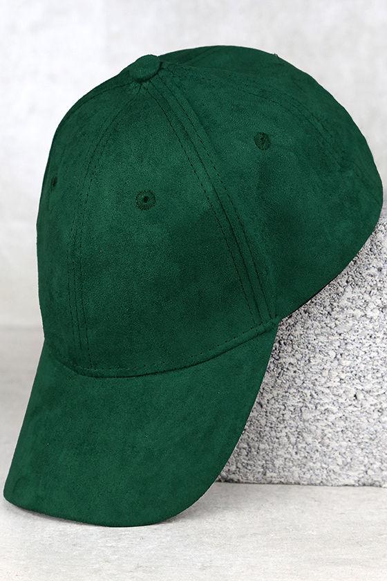 6f7a9106c46 Chic Forest Green Baseball Cap - Vegan Suede Baseball Cap - Ball Cap -   15.00