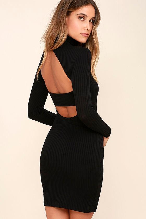 Sexy Black Dress - Turtleneck Dress - Backless Dress - Long Sleeve ...
