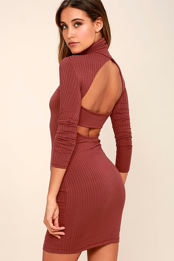 Sexy Rusty Rose Dress - Turtleneck Dress - Backless Dress - Long ...