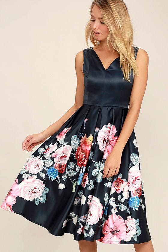 Lovely Navy Blue Dress Floral Print Dress Midi Dress 7400
