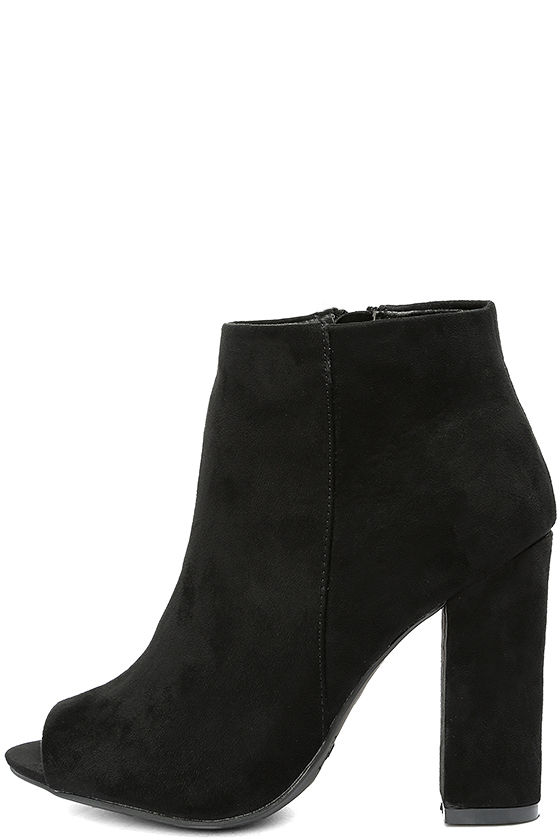 Means So Much Black Suede Peep-Toe Booties 2