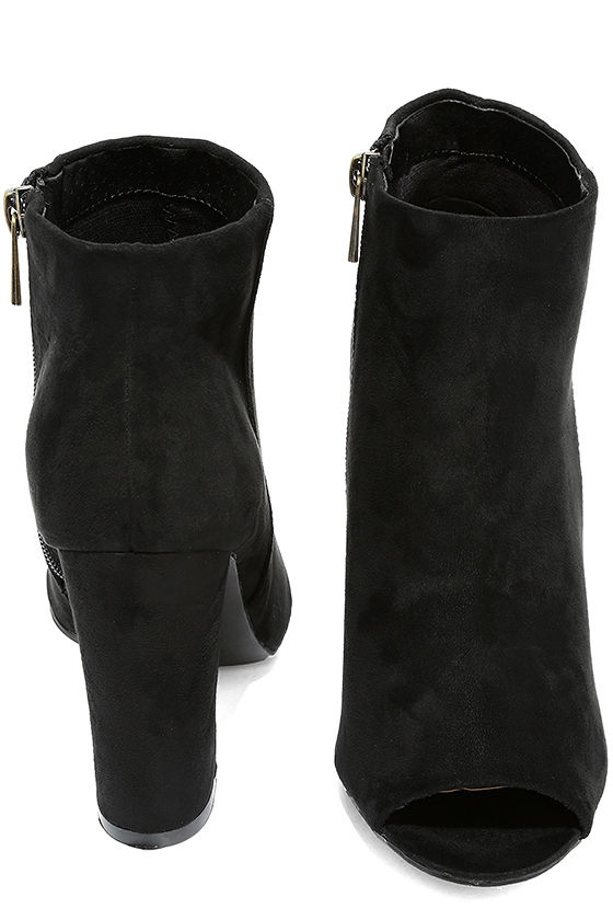 Means So Much Black Suede Peep-Toe Booties 3