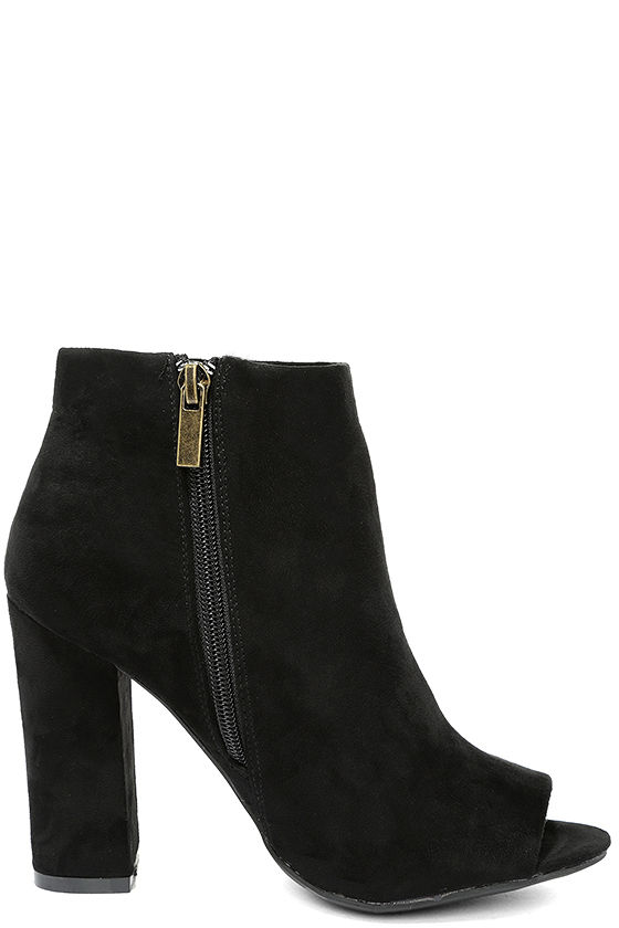 Means So Much Black Suede Peep-Toe Booties 4