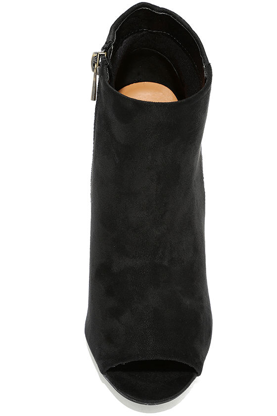 Means So Much Black Suede Peep-Toe Booties 5