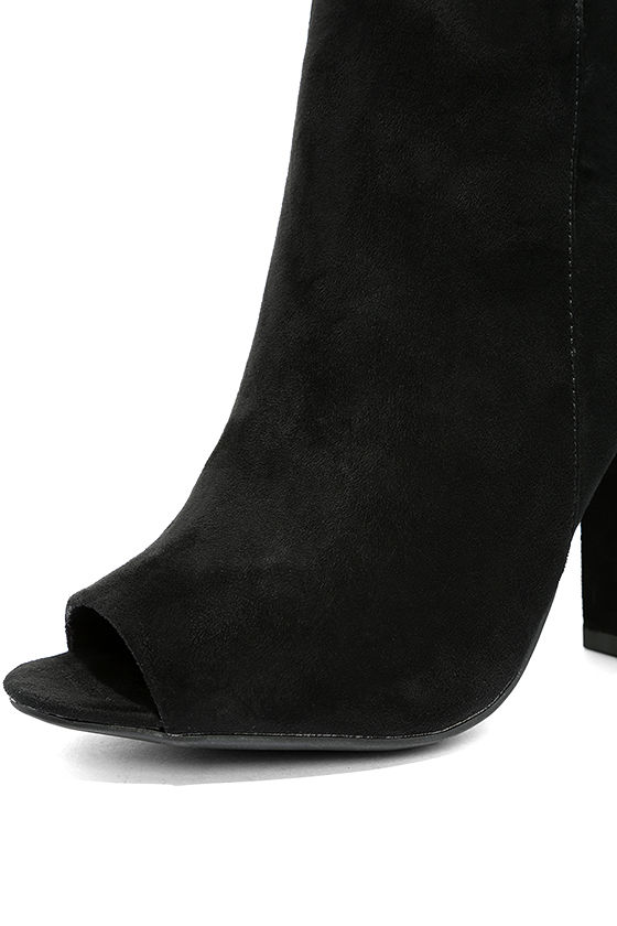 Means So Much Black Suede Peep-Toe Booties 6