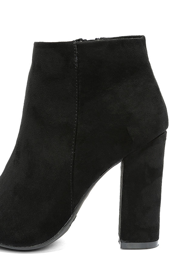 Means So Much Black Suede Peep-Toe Booties 7