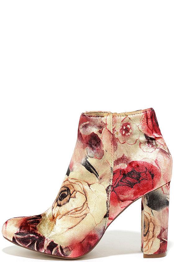 Rose Ceremony Beige Floral Velvet High Heel Booties 1