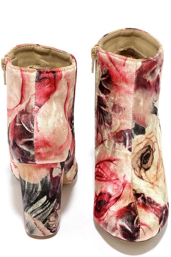 Rose Ceremony Beige Floral Velvet High Heel Booties 3