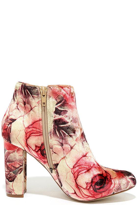 Rose Ceremony Beige Floral Velvet High Heel Booties 4
