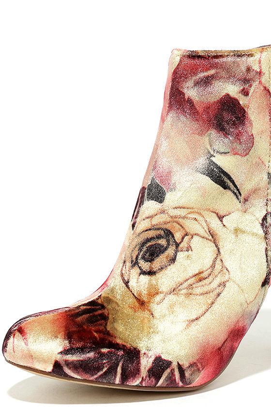 Rose Ceremony Beige Floral Velvet High Heel Booties 6