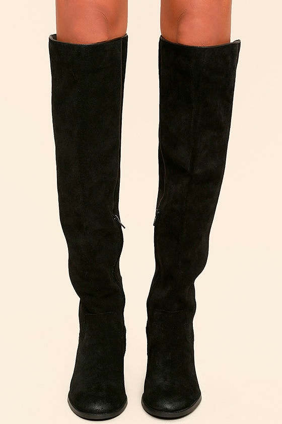 Mia Nigel Black Suede Leather Knee High Boots 2