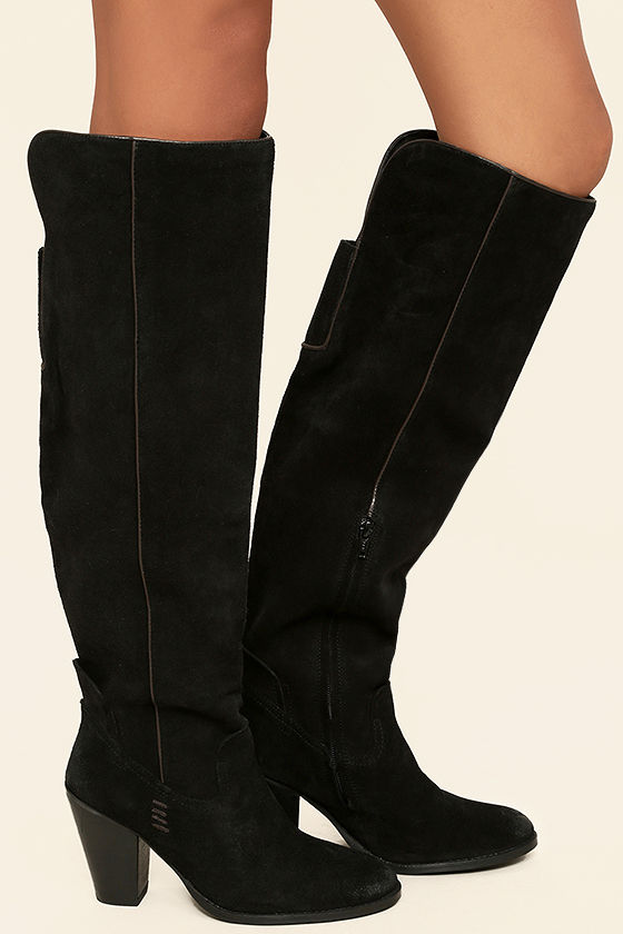 Mia Nigel Black Suede Leather Knee High Boots 3