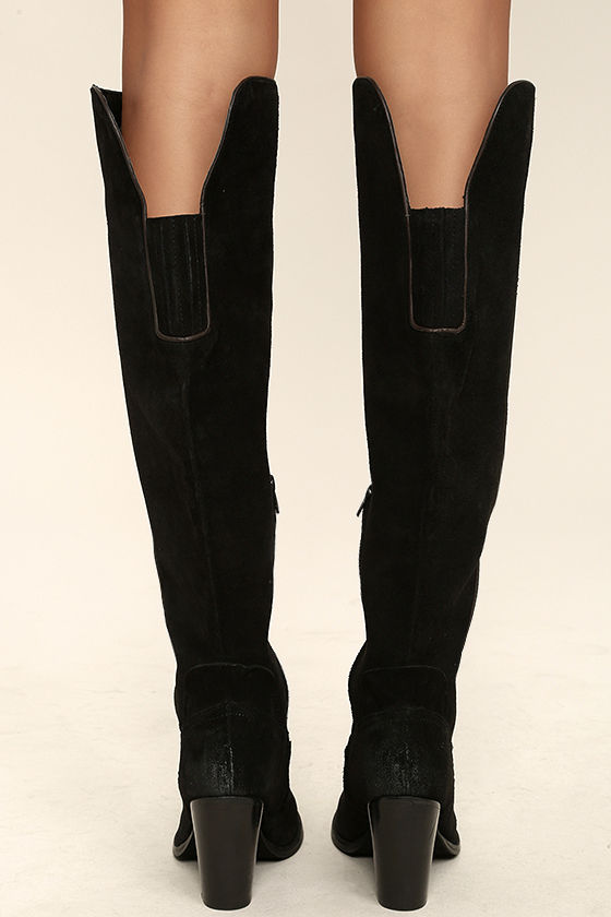 Mia Nigel Black Suede Leather Knee High Boots 4