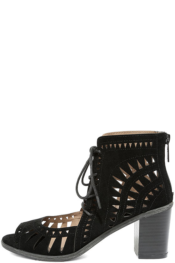 Cut to the Chase Black Suede Cutout Lace-Up Booties 1
