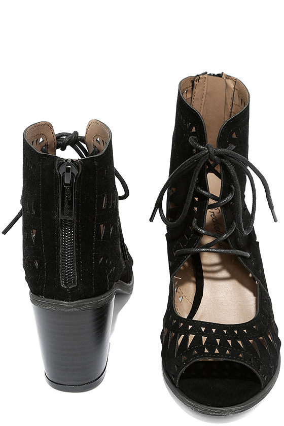 Cut to the Chase Black Suede Cutout Lace-Up Booties 3