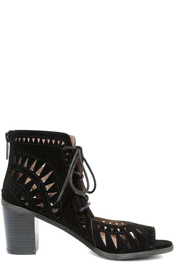 Cut to the Chase Black Suede Cutout Lace-Up Booties 4
