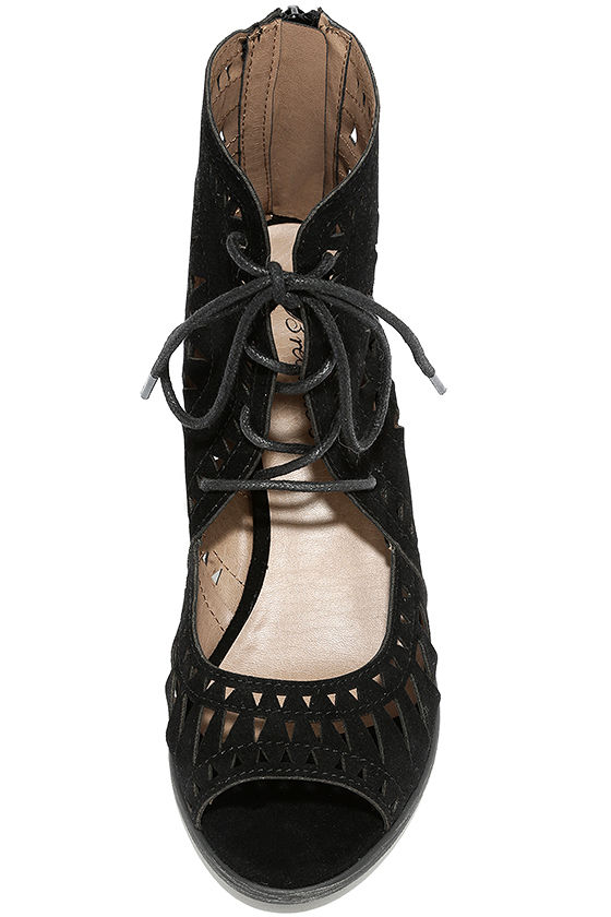 Cut to the Chase Black Suede Cutout Lace-Up Booties 5