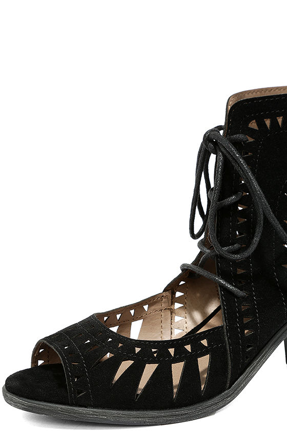 Cut to the Chase Black Suede Cutout Lace-Up Booties 6