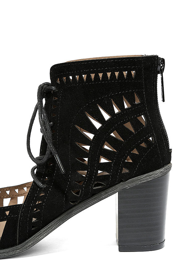 Cut to the Chase Black Suede Cutout Lace-Up Booties 7