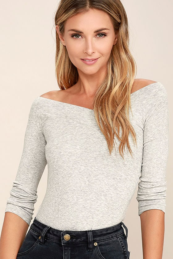 Feeling Free Heather Grey Off-the-Shoulder Top 1