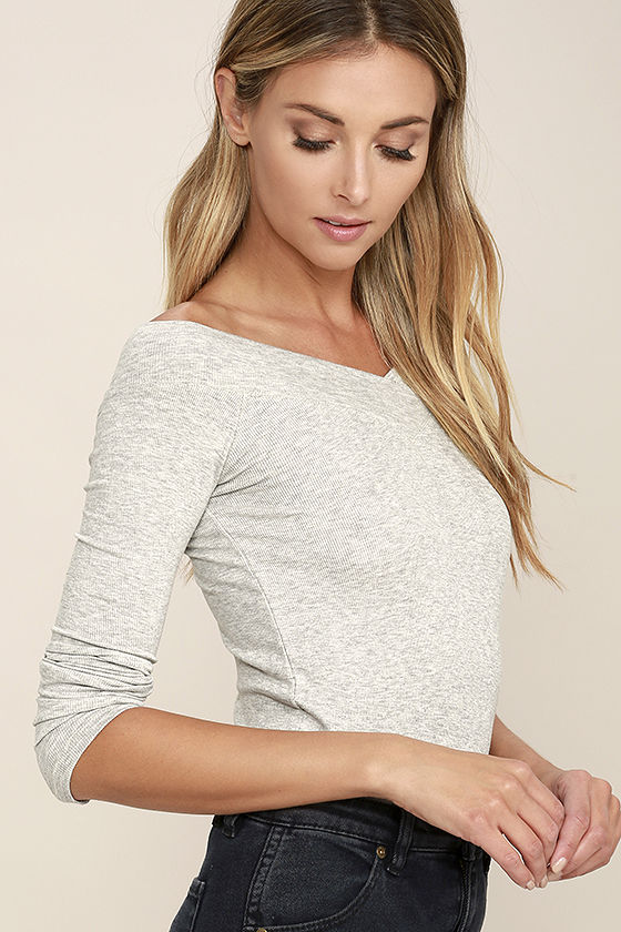 Feeling Free Heather Grey Off-the-Shoulder Top 3