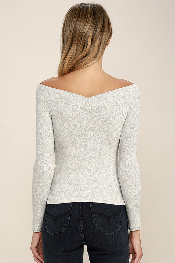Feeling Free Heather Grey Off-the-Shoulder Top 4