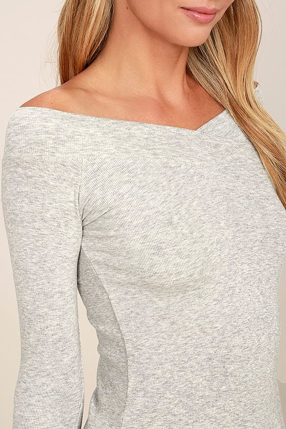 Feeling Free Heather Grey Off-the-Shoulder Top 5